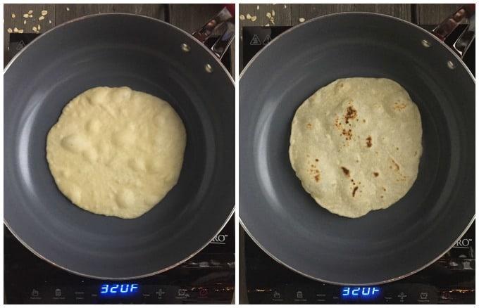 Homemade Flour Tortillas- Process Collage: Cook in a pan until bubbles form, then flip.