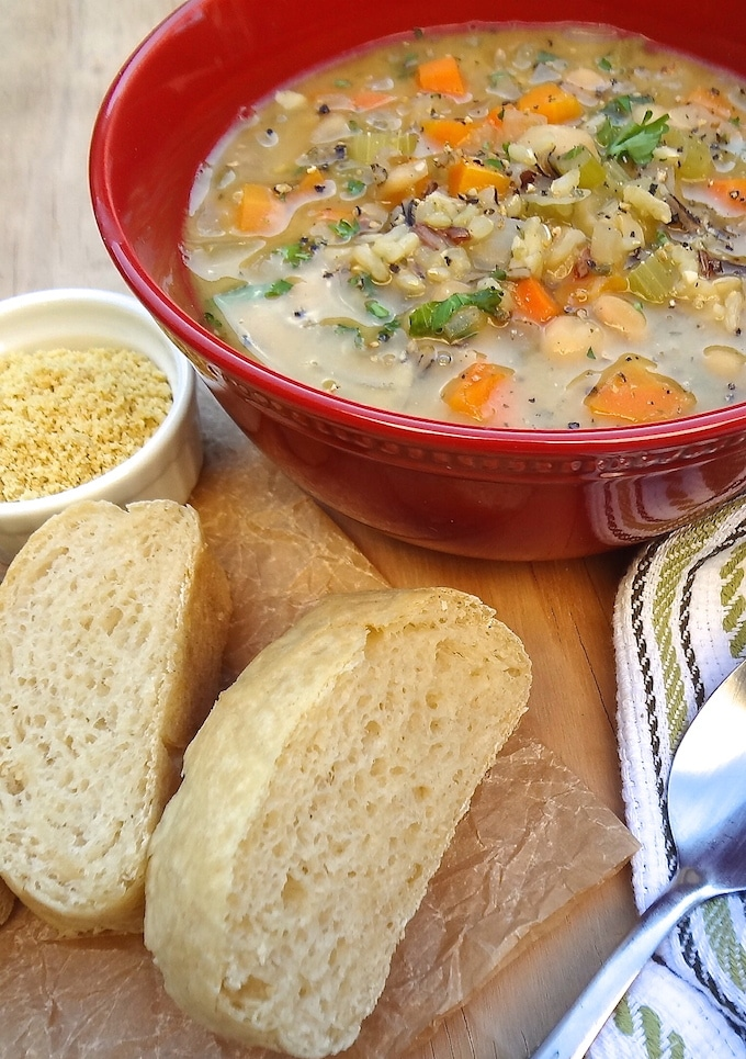 Hearty and delicious, Quick One-Pot Veggie and Wild Rice Soup is perfect for those cold winter days. It only takes one pot, a few simple ingredients and about 30 minutes to cook. Vegan and Gluten-Free!
