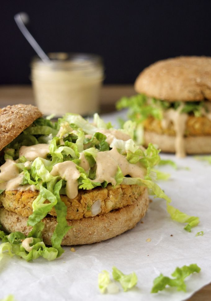 Chickpea Burgers with Spicy Cajun Sauce (vegan) | Where You Get Your Protein - Vegan Recipes