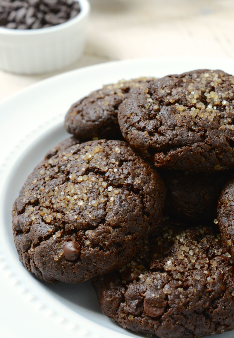 Vegan Double Chocolate Brownie Cookies are a decadent brownie crammed into a cookie then loaded with chocolate chips. These egg-free, dairy-free cookies are the perfect treat with a crackled top.