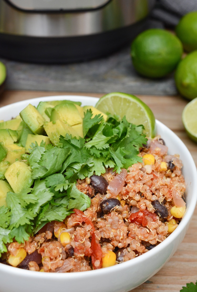 This vegan Mexican Quinoa Bowl is a quick Instant-Pot meal when you're short on time. It's loaded with easy-to-store ingredients, such as quinoa, black beans, frozen sweet corn and canned fire-roasted tomatoes. Toss all the ingredients into your IP for a simple, healthy dinner any night of the week. *with oil-free option*