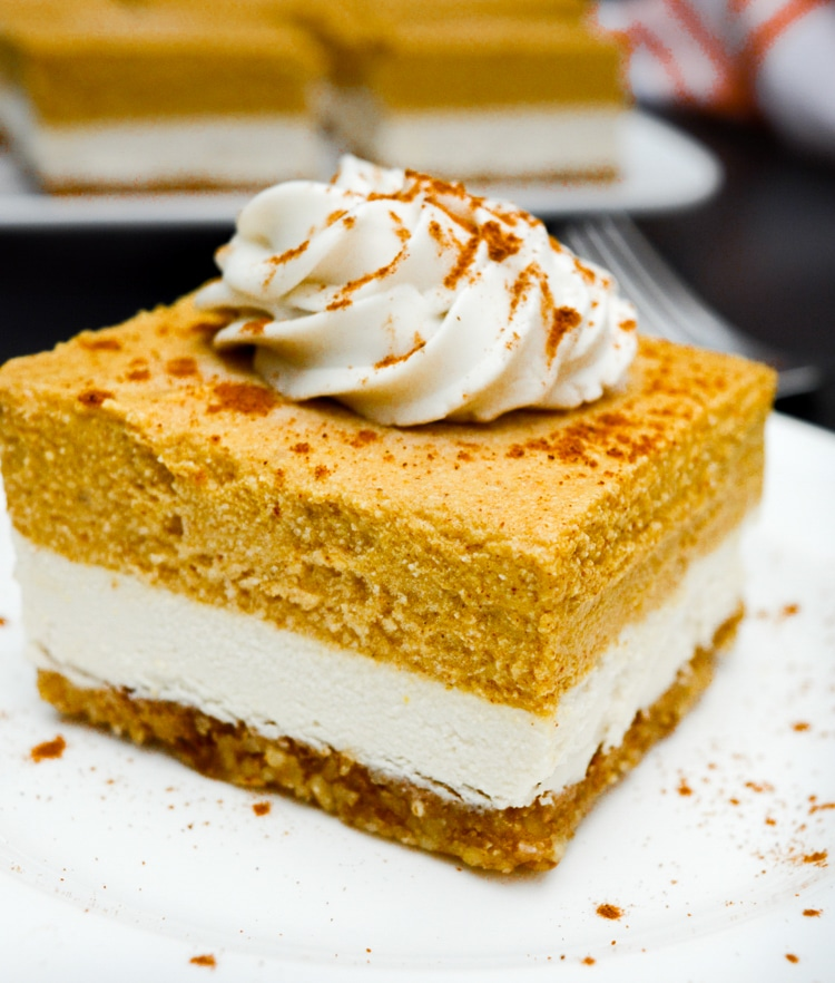 Vegan Pumpkin Cheesecake Bars [no-bake]