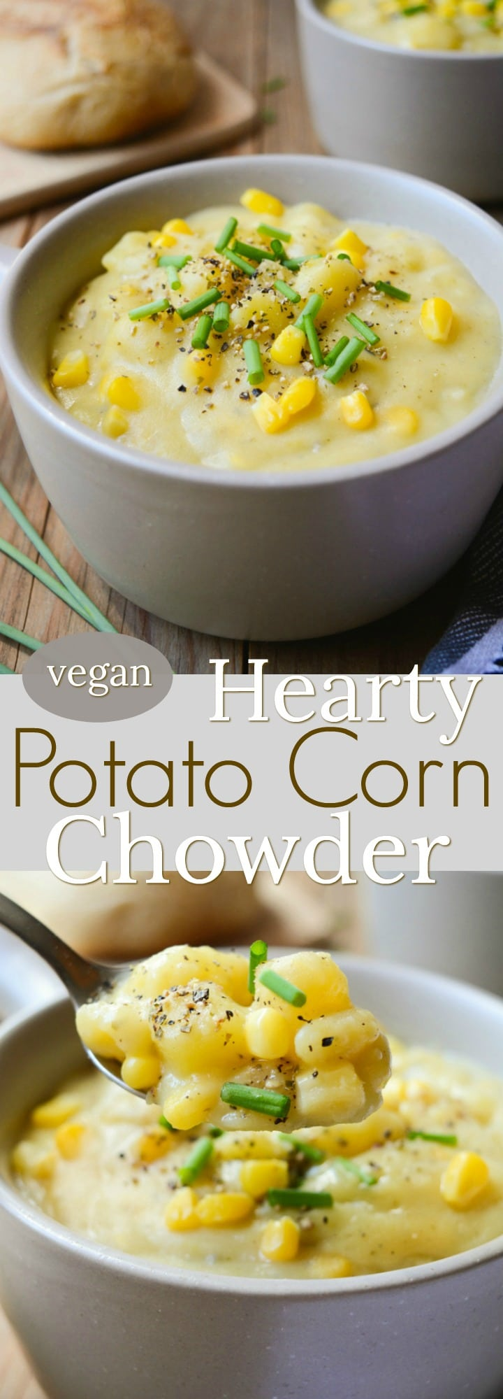 Vegan Potato Corn Chowder is a thick and hearty, dairy-free recipe. It takes only one pot and a few simple ingredientsyou have in your kitchen. This rich and chunky soup will keep you warm all winter long!