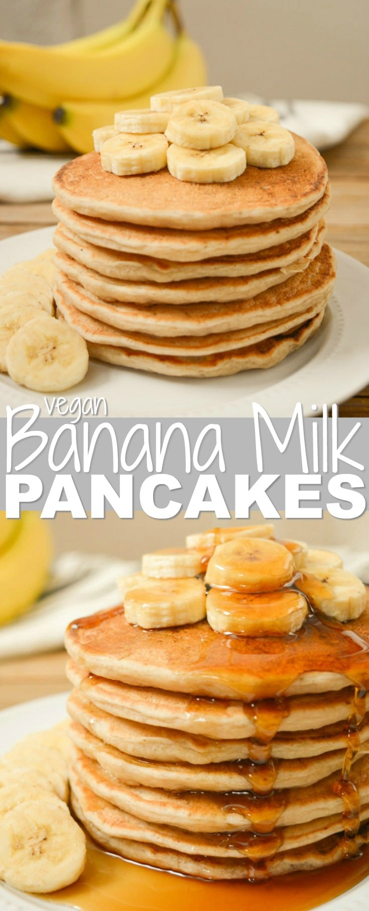 Vegan Banana Milk Pancakes are an allergy-friendly, egg-free, dairy-free and nut-free breakfast! Sweet, ripe bananas and coconut sugar keep these pancakes refined-sugar-free as well! Top your banana-filled pancake stack with extra banana slices and a good covering of maple syrup for an easy weekend brunch! #veganpancakes #veganrecipe #bananarecipe #bananapancakes #veganbreakfast #veganbrunch