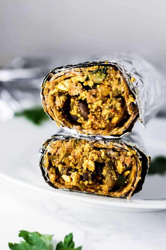 freezer friendly burrito wrapped in foil.