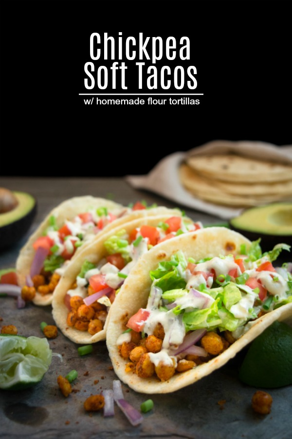 Vegan chickpea soft tacos are packed with seasoned chickpeas, topped with lettuce, diced tomatoes, onions and covered in a savory cheese-flavored, cashew ranch.