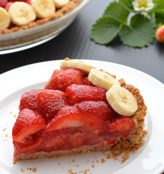 A slice of vegan strawberry pie .
