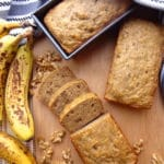 Super moist vegan banana bread with walnuts. A few simple ingredients bring this recipe together, so don't let those bananas go to waste!