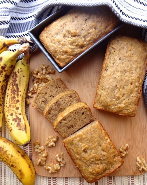 Vegan banana bread from top.