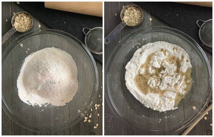 Homemade Flour Tortillas- Process Collage: One image of dry ingredients in a glass bowl. Second image of dry ingredients with pour oil.