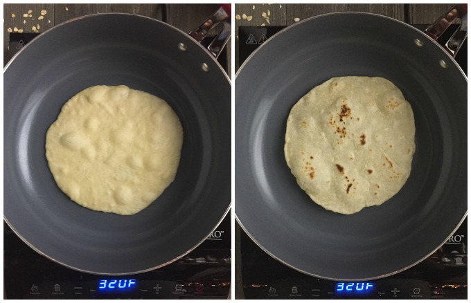 Homemade Flour Tortillas- Process Collage: Cook in a pan until bubbles form, then flip.