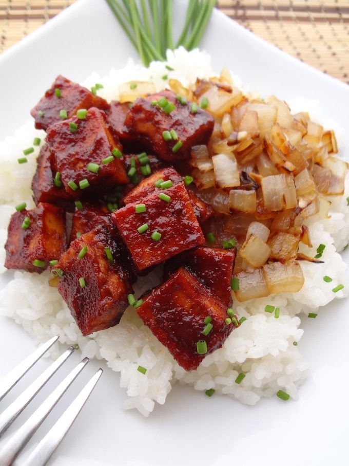 Baked BBQ Tofu with Caramelized Onions | Where You Get ...