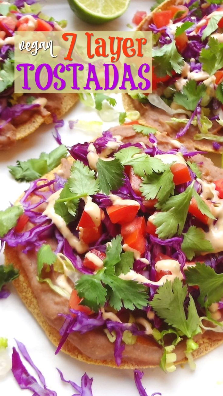 Vegan 7 Layer Vegan Tostadas are quick and simple to prepare. They're ready in under 20 minutes! A go-to when I'm in the mood for an easy Mexican meal. #veganmexicanrecipes #veganmexican #veganrecipe #meatless #veganlunch #easymeal