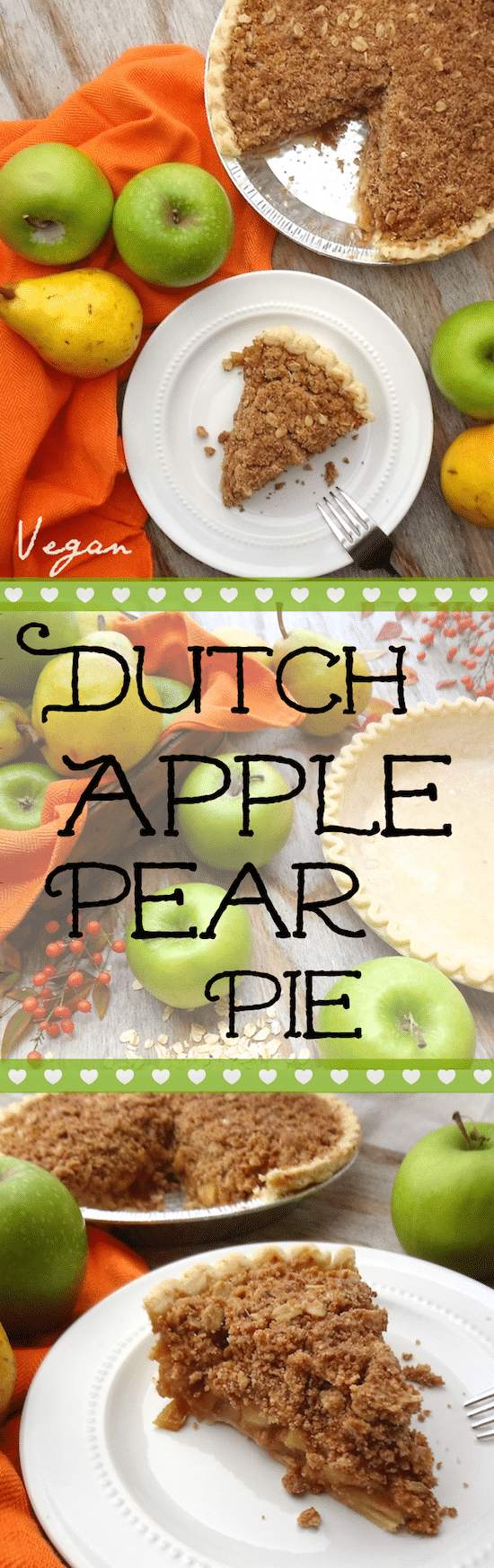 Vegan Dutch Apple-Pear Pie made with 9 simple ingredients. – I could eat the whole pie myself, it's so good. The sweet pears add another element to an otherwise ordinary apple pie.