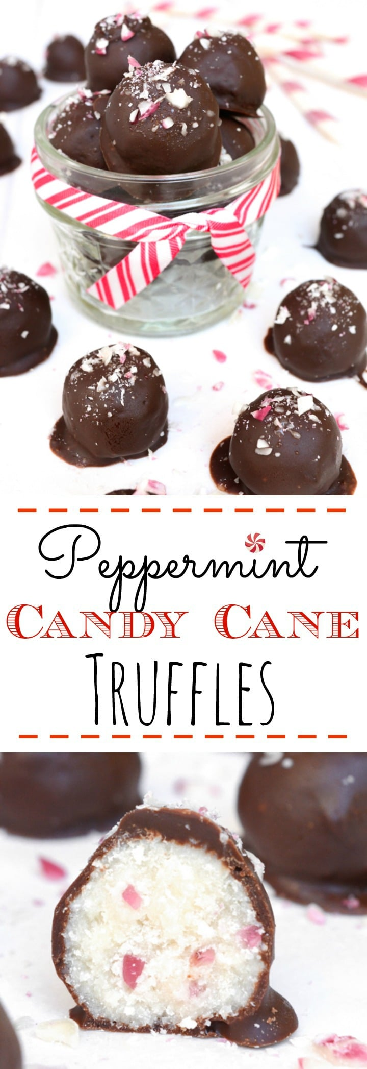 Peppermint Candy Cane Truffles are loaded with anirresistible candy cane crunch. They're a great allergy-friendly holiday treat or a perfect homemade gift. Vegan, gluten-free, nut-free andonly 6 simple ingredients to make! #vegan #holidaytruffle #vegantruffle #choclate #peppermint #candycane