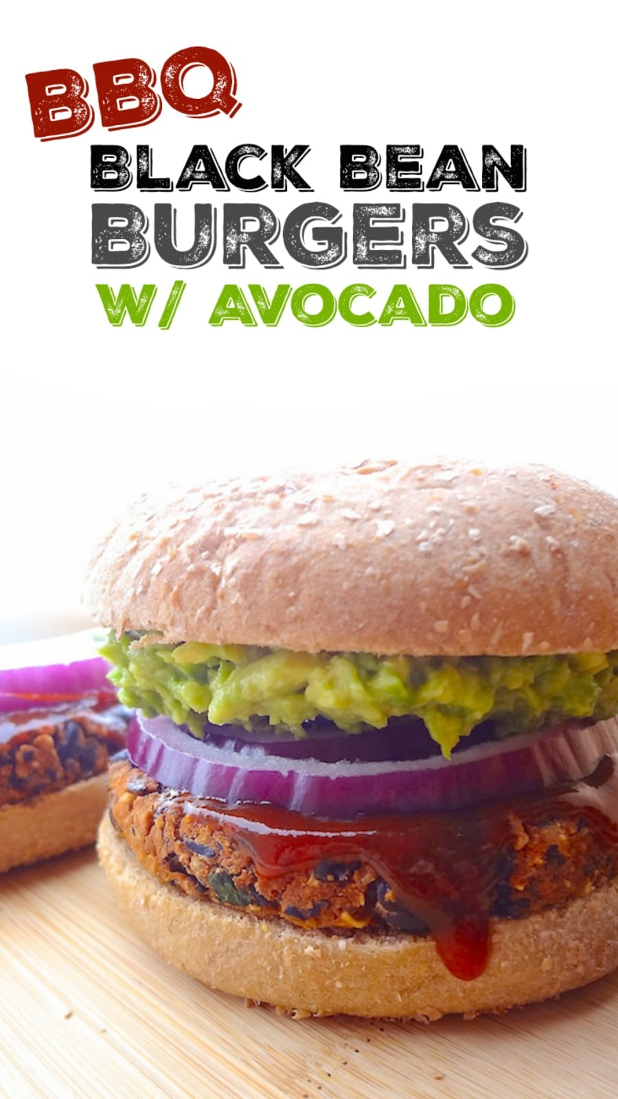 No crumble bbq black bean burger with avocado