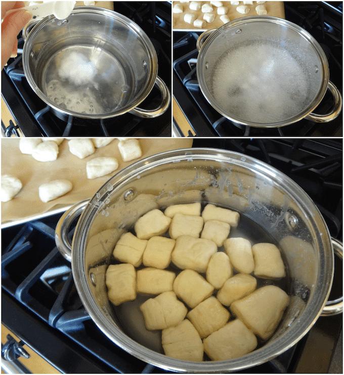 Step by step collage of making pretzel bites