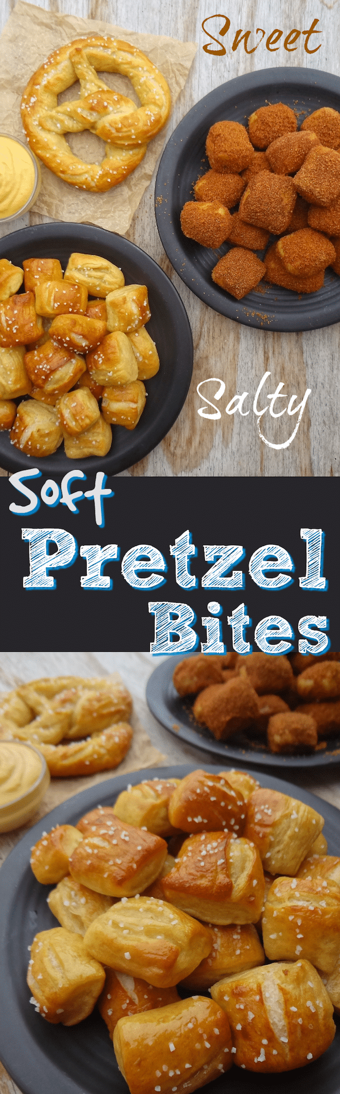 No need to choose a flavor with these, ready in about an hour, Sweet & Salty, Vegan Soft Pretzel Bites. They're also egg, dairy & refined sugar free! Simple and easy to make, kid-friendly, party food that will satisfy you and your guests sweet & salty craving! #vegansnack #veganrecipes #veganpartyfood #fingerfoods #veganpretzels #vegan