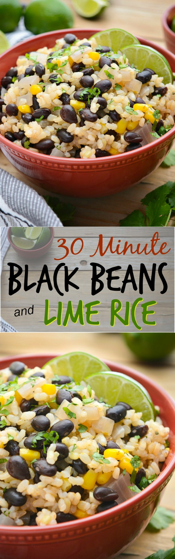 A collage of black beans and lime rice for pinterest.