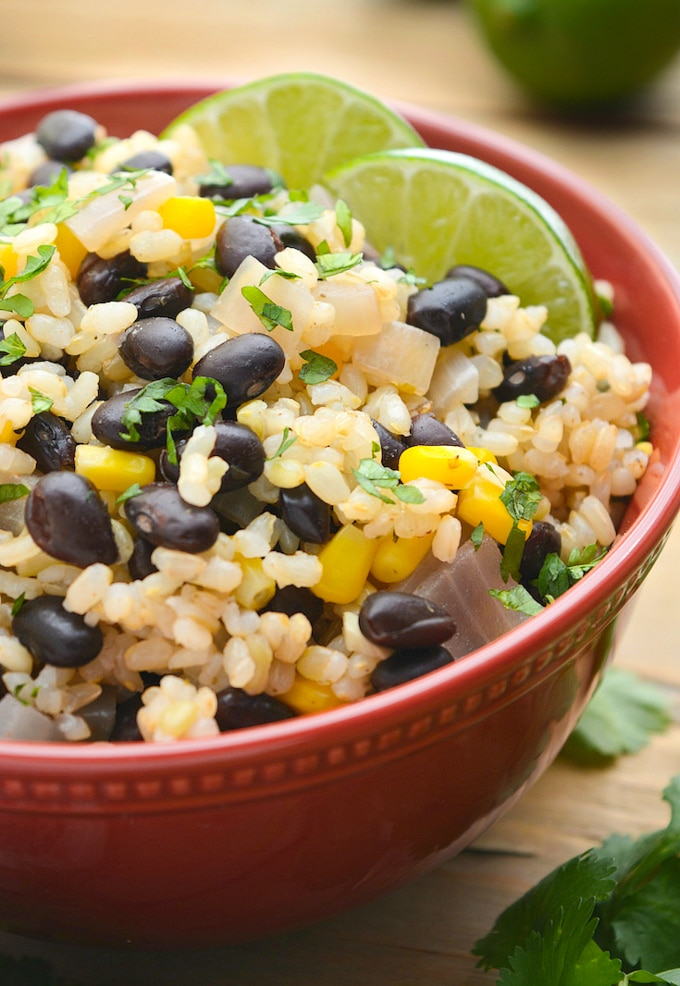 A single serving of black beans and lime rice.