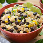 A dinner bowl of black beans and lime rice.