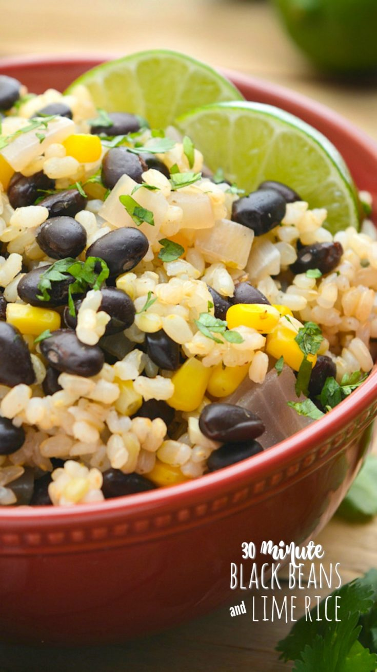 Black Beans and Lime Rice makes a quick, 30-minute dinner or side.  Black beans are seasoned to perfection while the brown rice gets a generous dose of freshly squeezed lime juice. Top with fresh chopped cilantro and diced avocado for an easy meal.  Gluten-free and great for meal prep! #blackbeans #beansandrice #limerice #veganrecipes #veganmexicanrecipes #vegandinners
