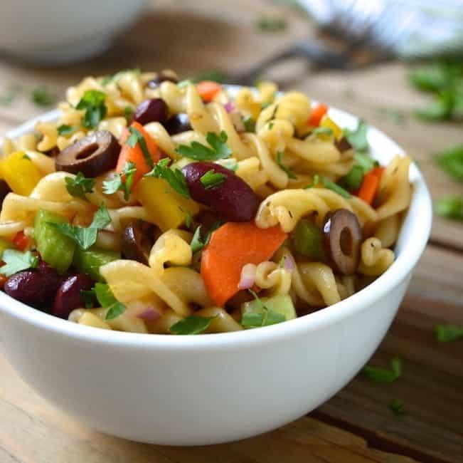 A bowl of vegan Italian pasta salad.