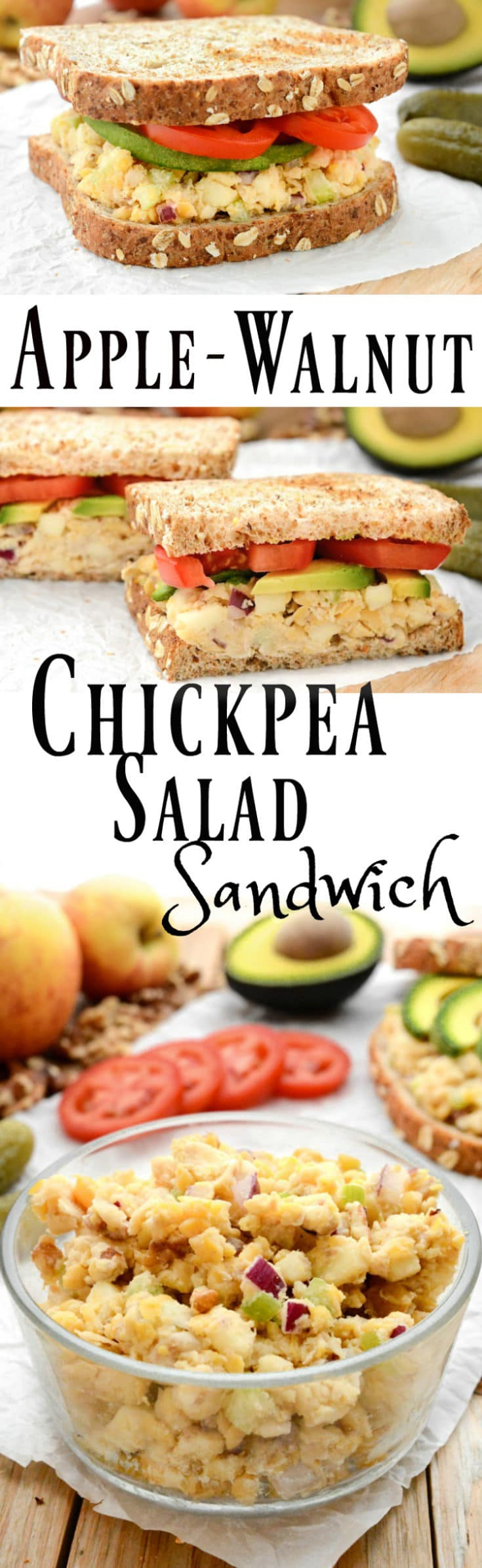 A vegan Apple-Walnut Chickpea Salad Sandwich that tastes like no other!  It's made with an oil-free tahini dressing, gluten-free and ready in under 15 minutes.  Prep the salad ahead of time for a quick, grab-and-go, healthy lunch. #chickpeas #summer #vegansandwiches #veganrecipes #chickpeasalad