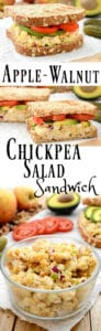 Collage of chickpea salad sandwich for Pinterest.