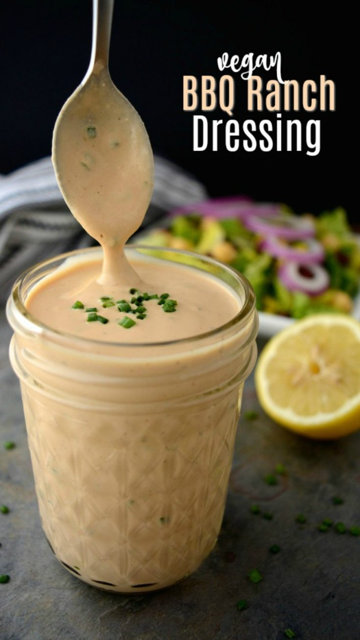 Vegan BBQ Ranch Dressing is a creamy dreamy dressing worth slathering on everything from salads to tacos & burritos!  This healthy dressing is vegan, oil-free and gluten-free! It also has a nut-free option to make it allergy friendly.  #veganranch #veganranchdressing #BBQranch #vegandressing #veganrecipe #vegandressingrecipe #veganranchrecipe