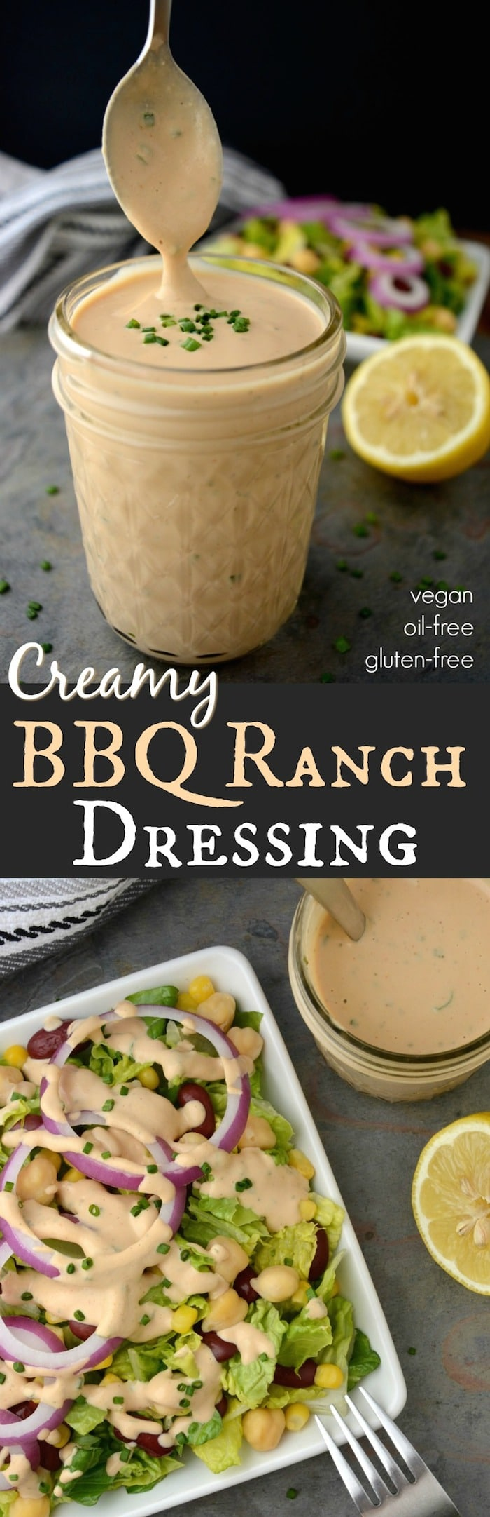 Creamy Vegan BBQ Ranch Dressing –A creamy dreamy dressing worth slathering on everything from salads to tacos & burritos! This healthy dressing is vegan, oil-free and gluten-free! It also has a nut-free option to make it 100% allergy friendly.