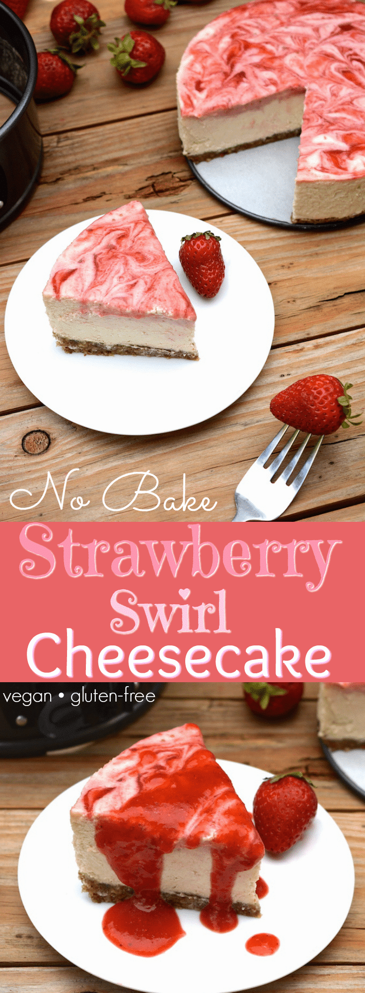 A Vegan Strawberry Swirl Cheesecake worth hoarding! It has an authentic cheesecake taste without the dairy.  This rich & creamy dessert is easy to whip-up, only takes 10 ingredients and includes a fresh strawberry swirl top with extra for drizzling!