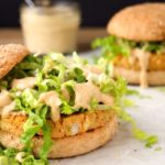 Chickpea Burgers with Spicy Cajun Sauce (vegan)