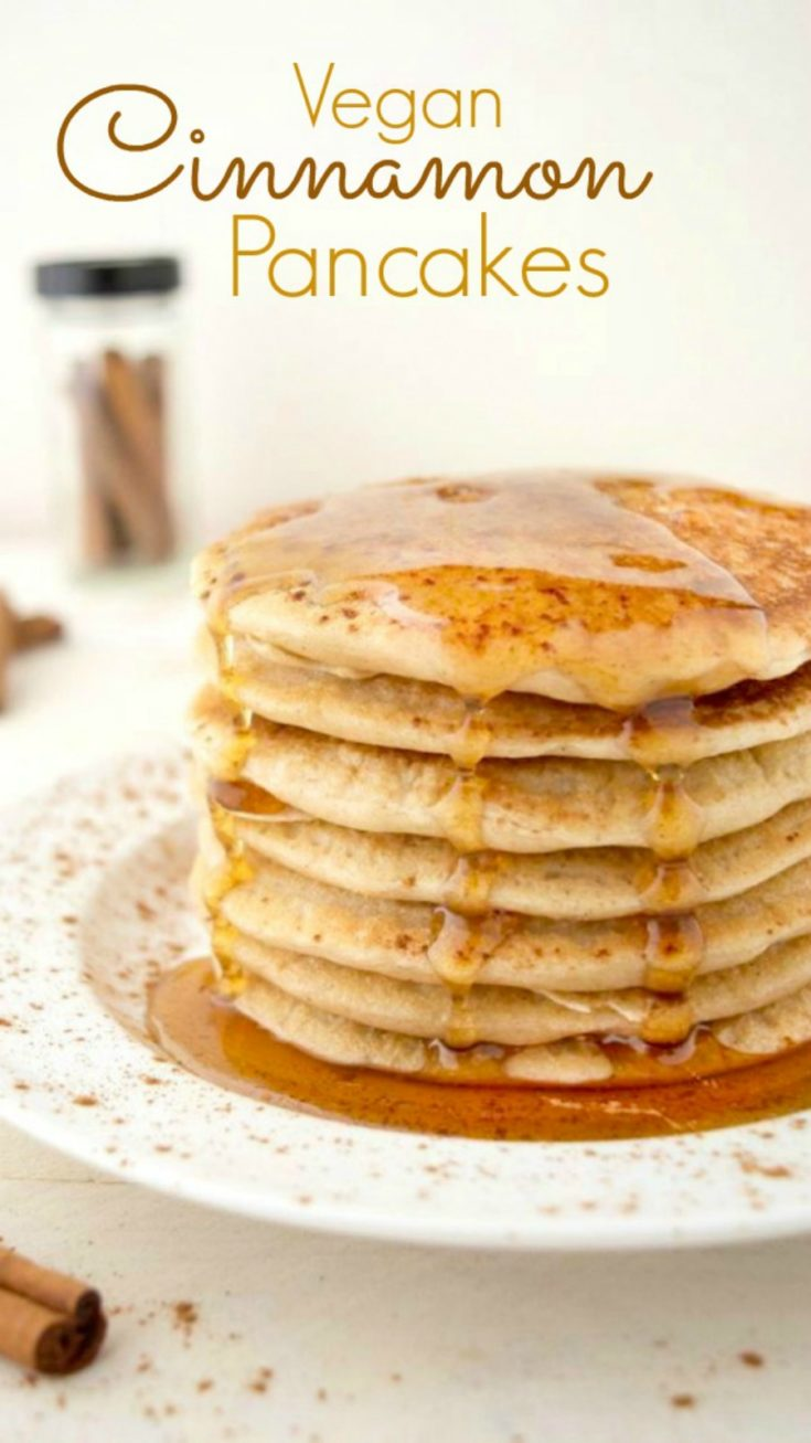 Vegan cinnamon pancakes are the perfect weekend breakfast! They're warm, light, fluffy and taste similar to a cinnamon roll. Add some chocolate chips to the batter for a chocolatey twist.  They're easy to make and require only 9 simple ingredients!#vegancinnamonpancakes #veganpancakes #veganbreakfast #veganrecipe #eggfreepancakes #dairyfreepancakes