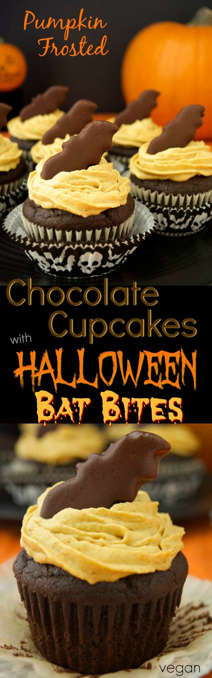 pumpkin frosted chocolate cupcakes with bat bites are a healthier vegan holiday inspired dessert