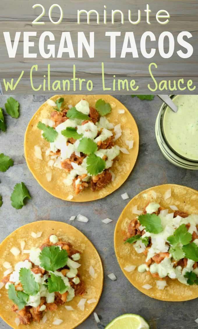 vegan tacos with cilantro lime sauce