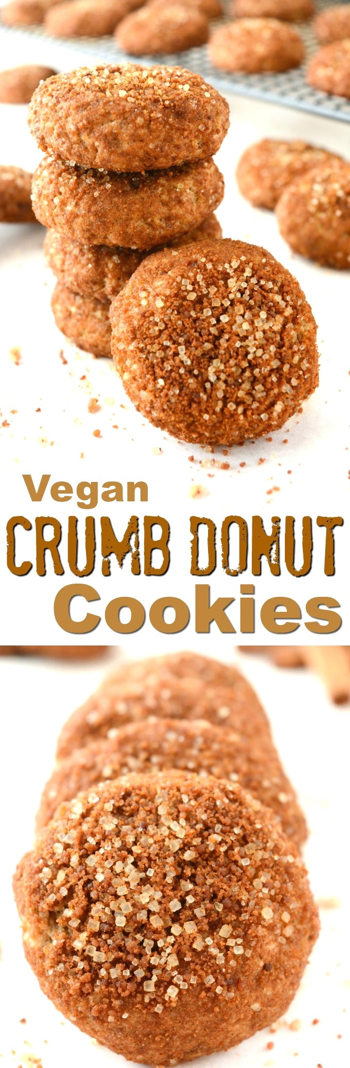 Easy Vegan Crumb Donut Cookies are covered in a cinnamon and sugar coating! The inside is soft and tender with a subtle hint of rich buttery goodness. Leave those packaged donuts at the store and make some healthier, egg and dairy free cookies at home!