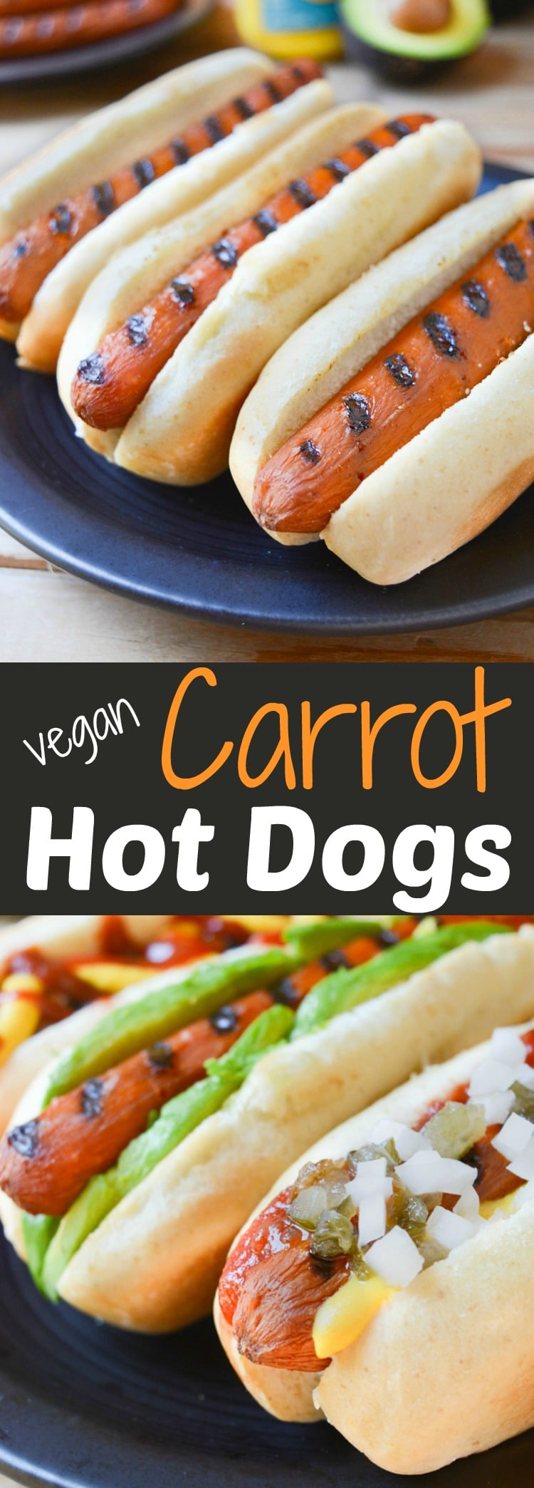 Carrot Hot Dogs can be topped any way you like. Plus, they're grillable which make them great for vegan summer BBQ's! Leave the unhealthy mock meats at the store and slide a carrot between those buns instead! Grilling, stovetop and oven directions included!