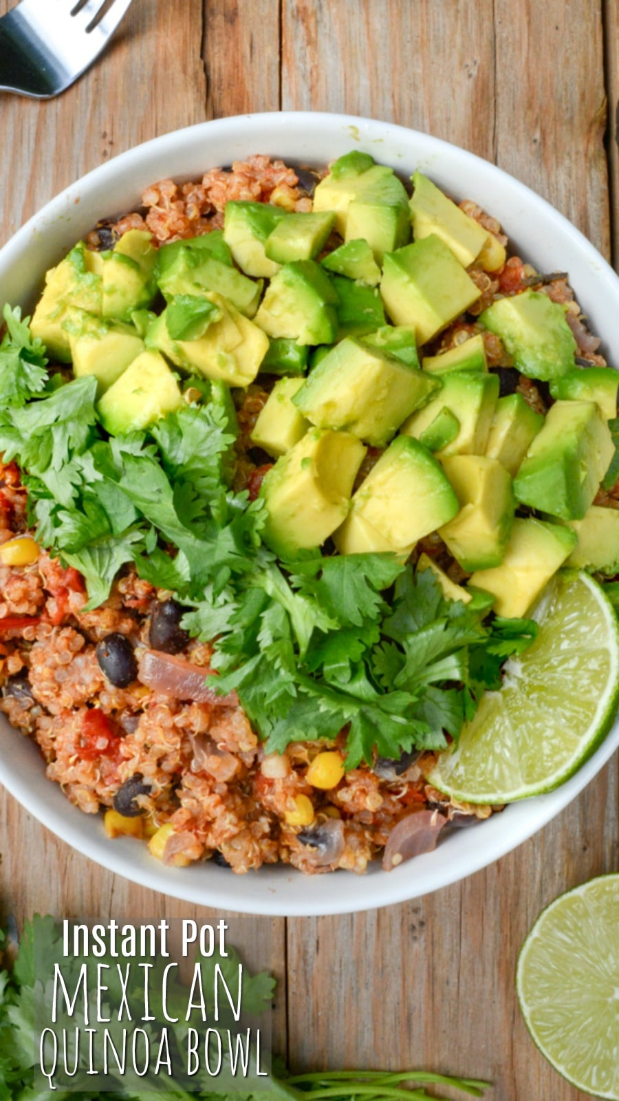 Instant Pot Mexican quinoa bowl topped with cilantro and diced avocado.