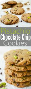 Vegan Pistachio Chocolate Chip Cookies are loaded with salty pistachios and mini chocolate chips. The sweet/salty combo makes them an ideal baked treat! They're egg-free, dairy-free and even refined-sugar-free!