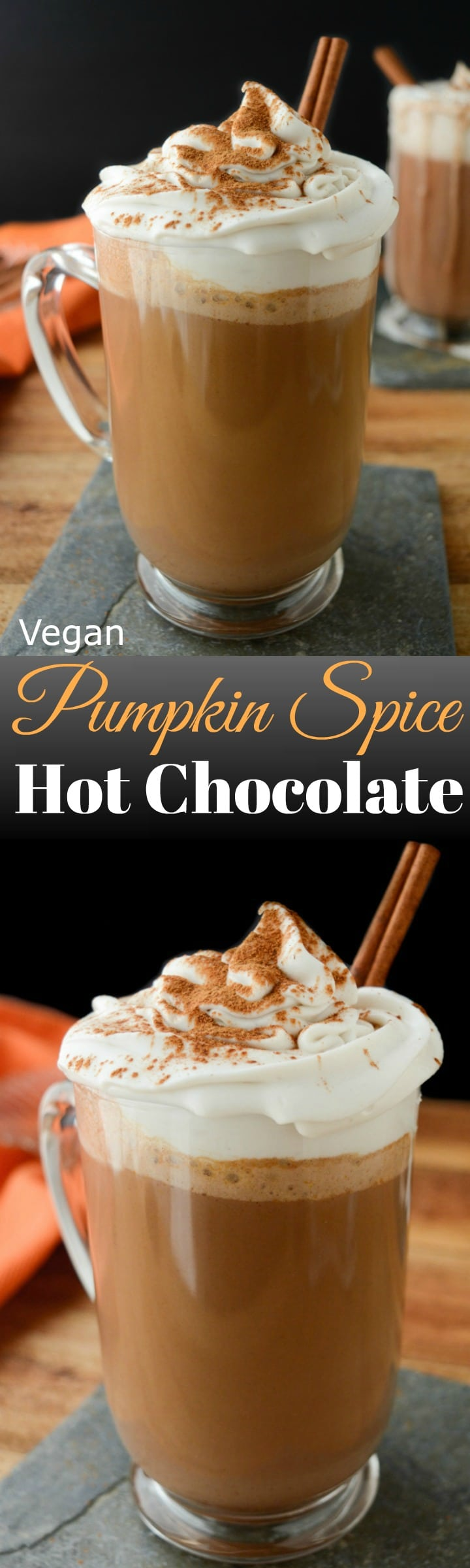 Cozy up this season with Vegan Pumpkin Spice Hot Chocolate!  It's made with real pumpkin puree!  Make a batch for the family or bring it in the slow cooker to your next holiday gathering. dairy-free