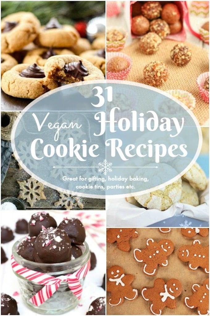 31 holiday-favorite cookie & truffle recipes. Some healthy. Some a bit more decadent. But, they're all sure to please!  Fill up those festive tins, gift boxes and cookie platters with a variety of vegan holiday cookies and truffles!  Plenty of gluten-free and allergy friendly options included!