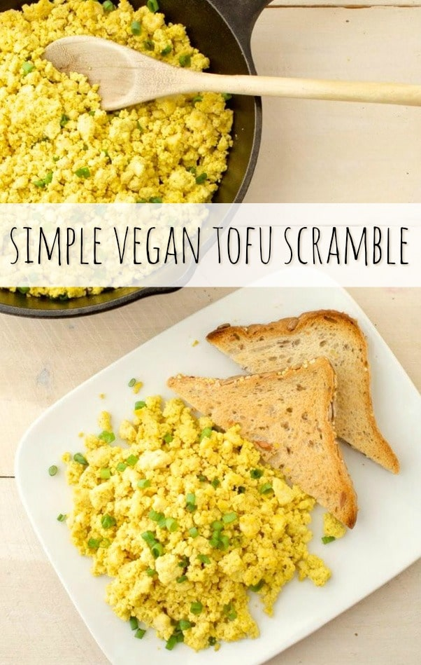 A simple tofu scramble seasoned to perfection.  This vegan egg alternative is packed with protein, only 6 ingredients and great for breakfast or brunch. Enjoy it as-is or add any vegetable for a customized taste. #veganegg #veganrecipe #tofuscramble #tofu #veganbreakfast