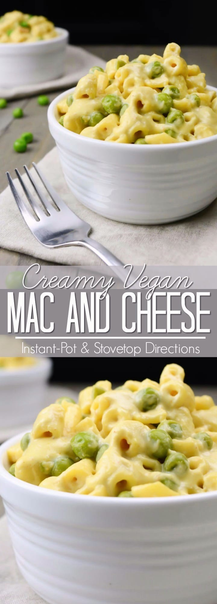 This Vegan Mac and Cheese is so creamy and cheesy!  It's the perfect dairy-free alternative to a classic comfort food.  This one-pot recipe can be made stovetop or in the Instant-Pot.