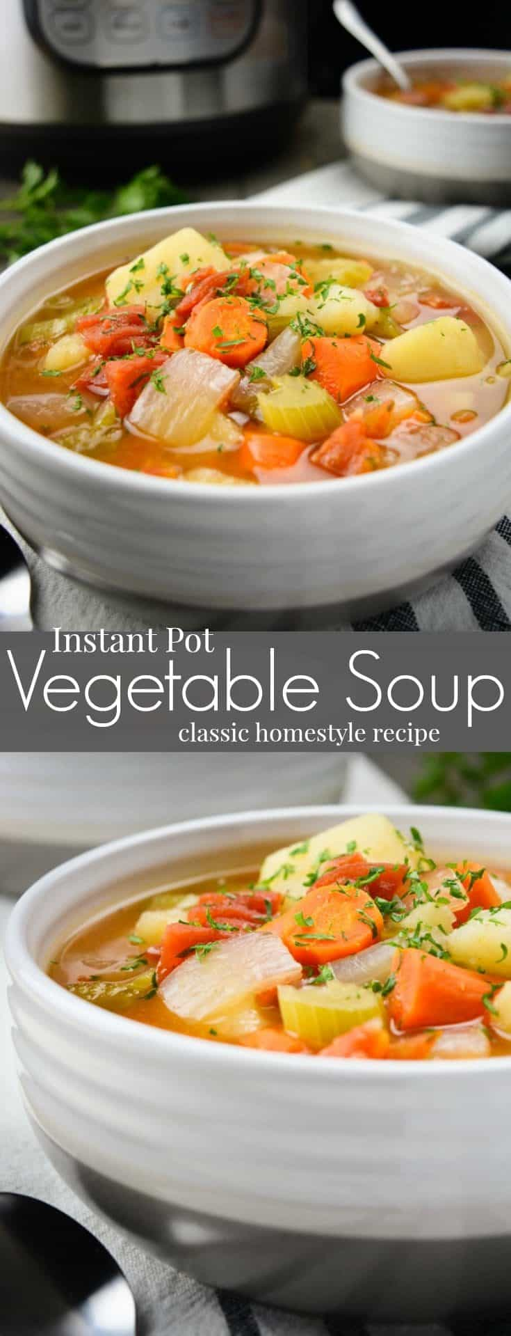 Instant Pot Vegetable Soup is a classic homestyle recipe great for cold winter nights. Plus it's quick to bring together making it an easy weeknight dinner. This healthy & flavorful chunky vegetable soup is vegan, vegetarian, gluten free and allergy friendly! #vegan #veganrecipes #vegansoup #instantpotsoup #instantpotrecipe #vegetablesoup #instantpot #healthy #dairyfree