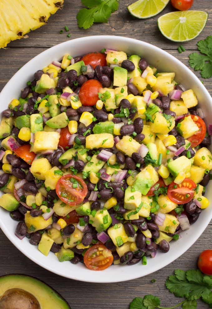 Pineapple Fiesta salad in a white bowl.