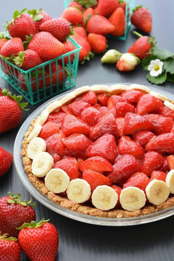 Vegan Strawberry Pie (gluten-free) | Where You Get Your Protein - Vegan Recipes