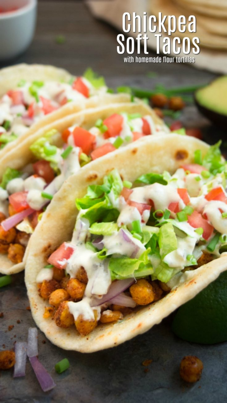 Vegan chickpea soft tacos are an easy and delicious meatless dinner alternative.  They're packed with seasoned chickpeas, and topped with a savory 'cheesy' cashew ranch dressing!  These truly are the best vegan chickpea tacos! #veganmexicanrecipe #vegantacos #veganrecipe #chickpeatacos #summerrecipe