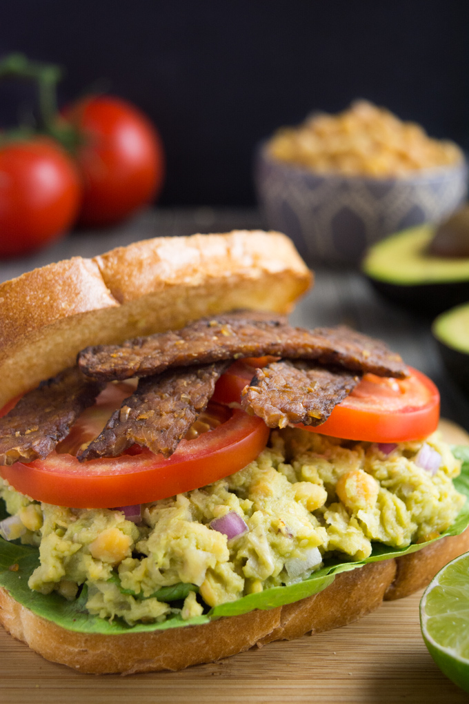 Avocado Chickpea BLT Sandwich