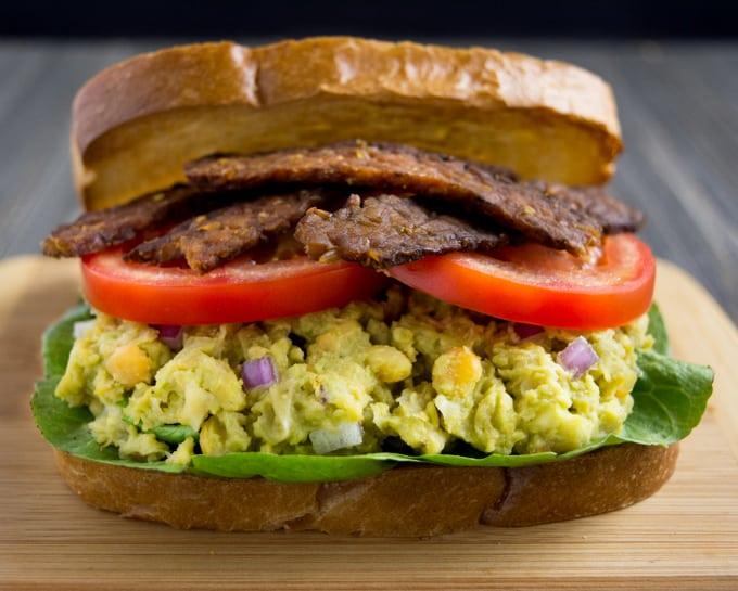 Avocado Chickpea BLT Sandwich close up.